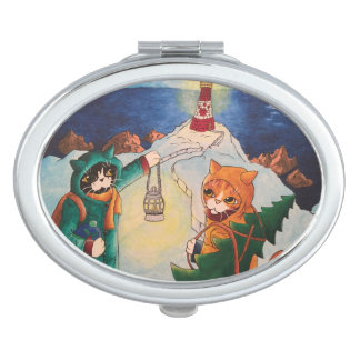 Miroir De Maquillage Phare de Noël aux chats de nuit