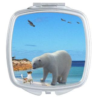 Miroir De Maquillage Rencontre d'ours blanc,