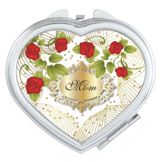 Miroir De Maquillage Satin blanc et roses rouges pour la maman