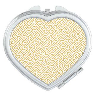 Miroir De Poche Art moderne de labyrinthe élégant - or et blanc