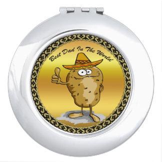 Miroir De Poche Caractère mexicain de pomme de terre de casquettes