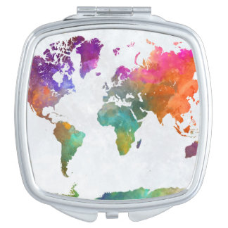 Miroir De Poche Carte du monde dans l'aquarelle