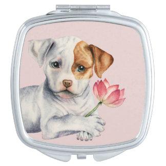 Miroir De Poche Chiot de pitbull tenant la peinture de fleur de
