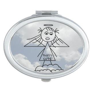 Miroir De Poche Dessin mignon de fille d'ange de bâton sur des