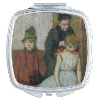 Miroir De Poche Femme d'Edgar Degas | avec deux petites filles