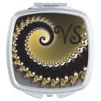 Miroir De Poche Fractale. D'or, argenté, noir. Ajoutez le