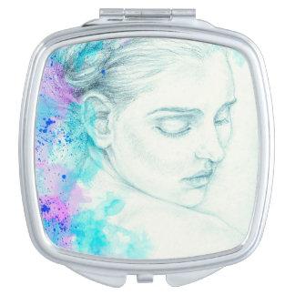 Miroir De Poche Madame assez victorienne In Blue