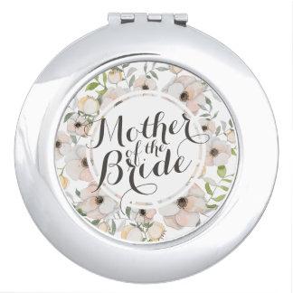 Miroir De Poche Mère du miroir floral de contrat de mariage de