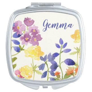 Miroir De Poche Mirro compact personnalisé par fleur peint sauvage