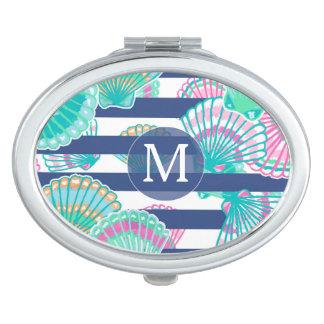 Miroir De Poche Monogramme de coquillage de rayure de bleu marine