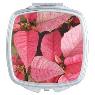 Miroir De Poche Noël rose coloré de poinsettia floral