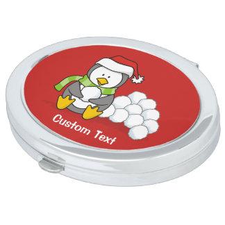 Miroir De Poche Pingouin de Noël se reposant avec des boules de