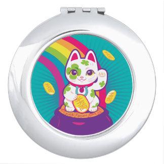 Miroir De Poche Pot de bonne chance de Maneki Neko de chat d'or