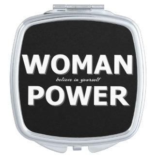 Miroir De Poche Typographie moderne de puissance de femme