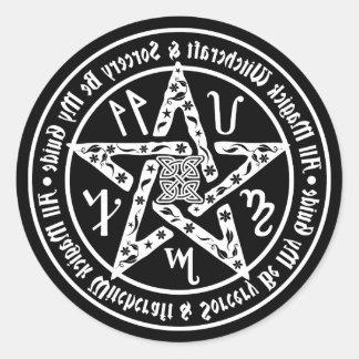 Miroir de sorcellerie écrivant le pentagramme sticker rond