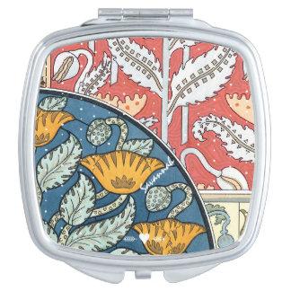 Miroir De Voyage Aqua jaune de corail vintage d'art déco romantique