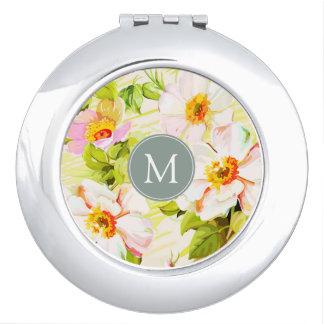 Miroir De Voyage Contrat floral vintage M de monogramme de pivoines