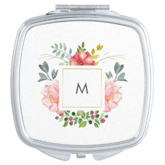 Miroir De Voyage Fleurs assez roses de pivoine avec le monogramme