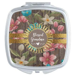 Miroir De Voyage Grand-maman bénie par bois rustique floral blanc