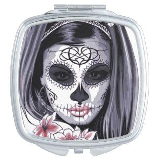 Miroir De Voyage Jour de carnaval de masque de la femme florale
