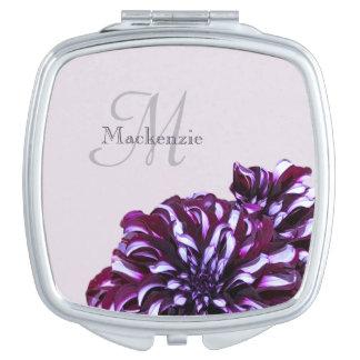 Miroir De Voyage Le dahlia pourpre élégant fleurit le nom de