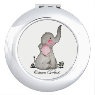 Miroir De Voyage L'éléphant mignon de bébé d'aquarelle avec