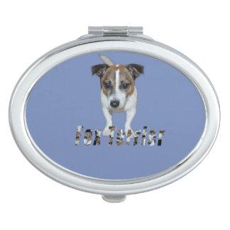 Miroir De Voyage Logo de Fox Terrier et de Fox Terrier, ovale bleu