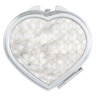Miroir De Voyage Marbre blanc avec le motif de cube en or