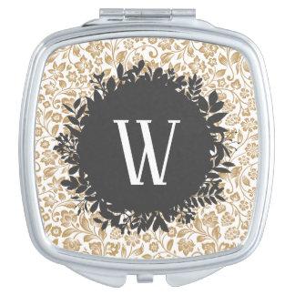 Miroir De Voyage Motif floral d'or avec le monogramme gris-foncé de