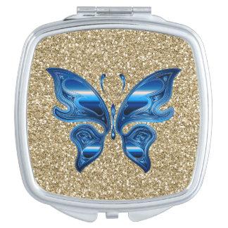 Miroir De Voyage Papillon abstrait sur le scintillement d'or
