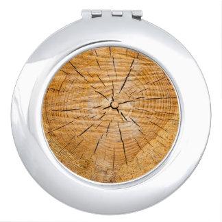 Miroir De Voyage Tranche en bois inextricable de la vie