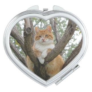 Miroir jaune de contrat de coeur de Tomcat Miroirs À Maquillage