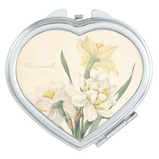 Miroir personnalisé par narcisse botanique vintage miroirs de poche