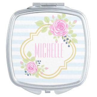 Miroir rose de fantaisie de contrat de myrtille de miroir compact