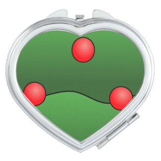 Miroir rouge   de contrat de coeur de boules miroir de voyage