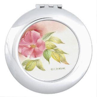 Miroir sauvage de contrat de rose. miroir compact