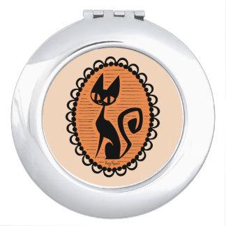 Miroirs À Maquillage Camée de chat noir de Halloween