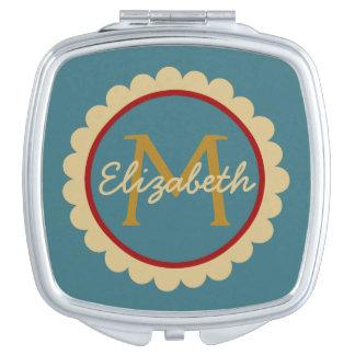 Miroirs À Maquillage Fleur sur le miroir bleu de contrat de monogramme