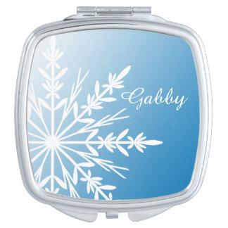 Miroirs À Maquillage Flocon de neige blanc d'hiver sur le bleu