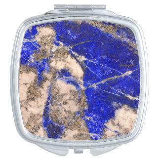 Miroirs À Maquillage Granit-marbre bleu abstrait