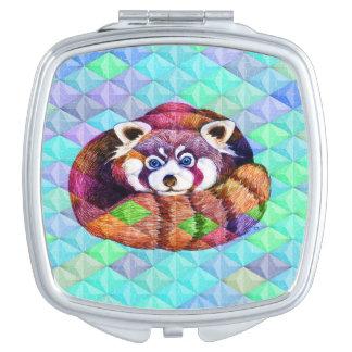 Miroirs À Maquillage Le panda rouge concernent le cubisme de turquoise
