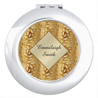 Miroirs À Maquillage L'or brillant personnalisé part du monogramme
