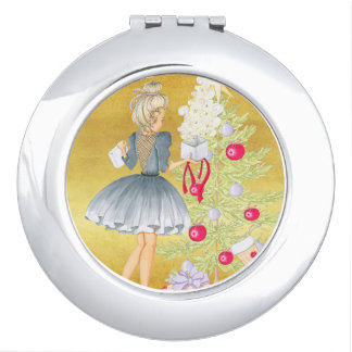 Miroirs À Maquillage Magie de Noël - blonde décorant un arbre