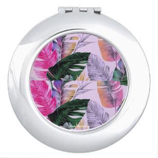 Miroirs À Maquillage Miroir de contrat de motif de plante tropicale