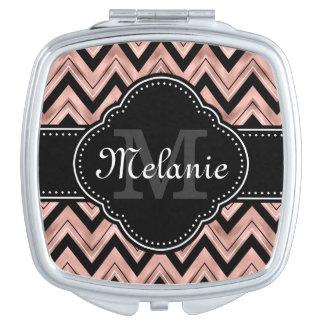 Miroirs À Maquillage Monogramme rose de blanc de noir de motif de