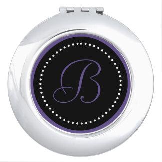 Miroirs À Maquillage Monogramme ultra-violet sur le noir avec les