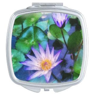 Miroirs Compacts Aquarelle pourpre de Lotus
