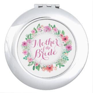 Miroirs Compacts Mère du miroir floral de contrat de mariage de