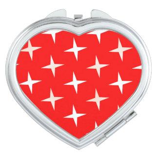 Miroirs Compacts Miroir CROISÉ BLANC ROUGE de contrat de coeur