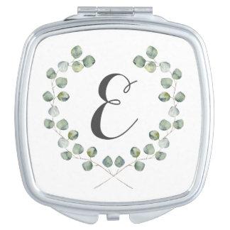 Miroirs Compacts Monogramme du cadre   de feuille d'eucalyptus